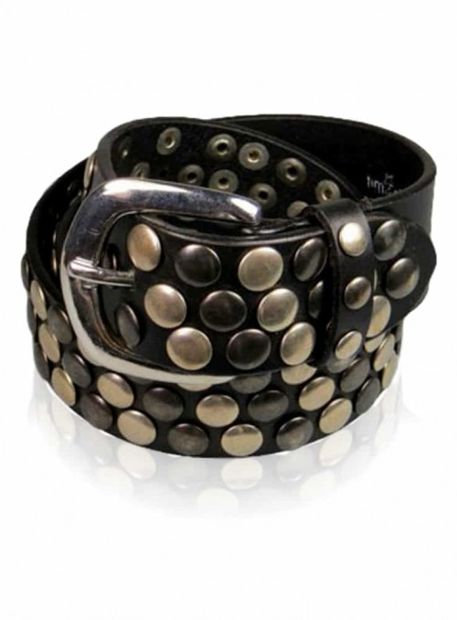 Leather belt with studds