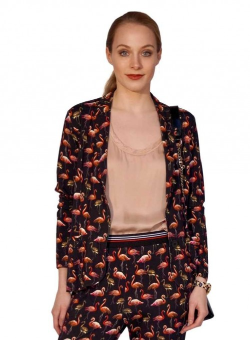 Jesrey jacket Louisa Flamingo