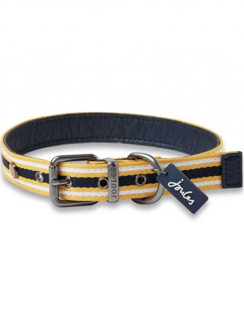 Dog Collar leather nylon Yellow Striped from Joules