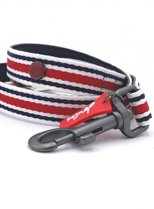 Dog Lead leather nylon Red Striped from Joules