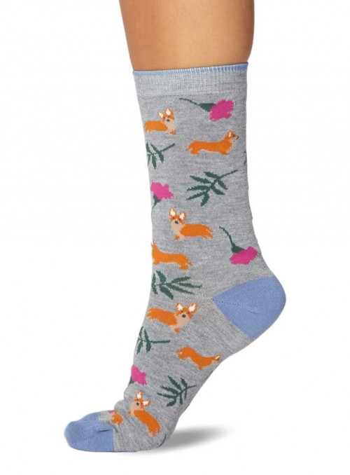 2 Pack Bamboo Socks Corgi and Queen from Thought