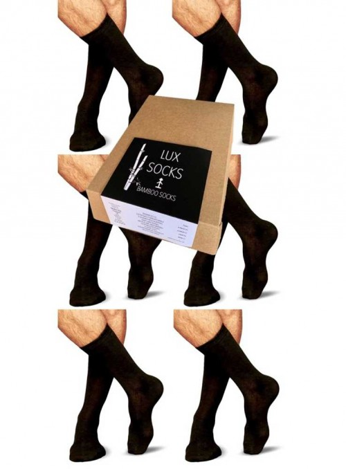 6 pack Bamboo Socks mens Gift Box All Black