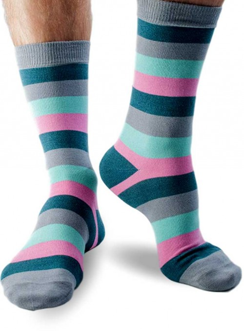 Bamboo Socks mens Pink Large Stripe Doris & Dude