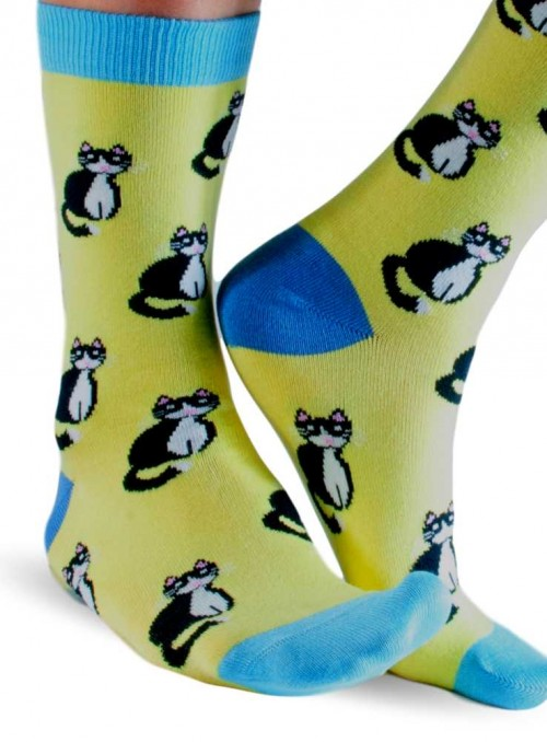 Bamboo Socks with organic Cotton Lime Cats from Doris & Dude