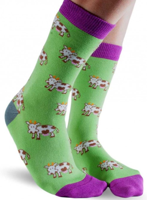 Bamboo Socks with organic cotton womens Green Cow from Doris & Dude