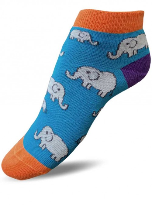 Bamboo Ankle Socks with organic cotton Teal Elephant Doris & Dude