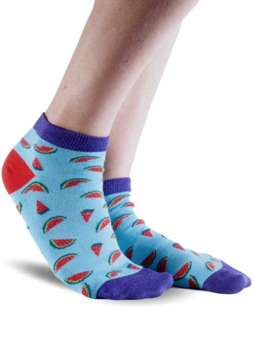 Bamboo Ankle Socks with organic cotton Blue Watermelons Doris & Dude