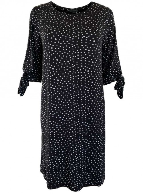 Bamboo dress black with grey dots