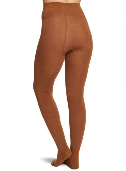 Bamboo tights Camel with handlinked toe