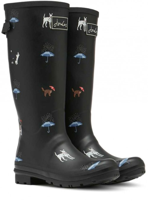 Wellies Wellyprint Black Cat Dogs from Joules