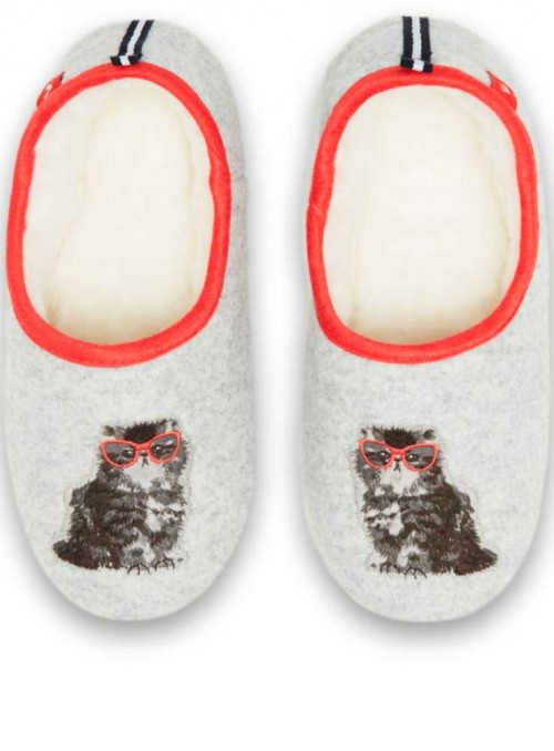 Slippers Felt with Applique Grey Cat