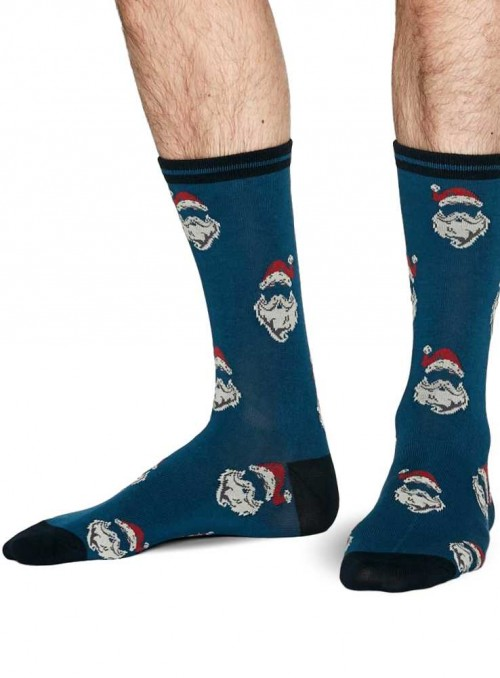 Bamboo socks with Santa, teal, from Thought