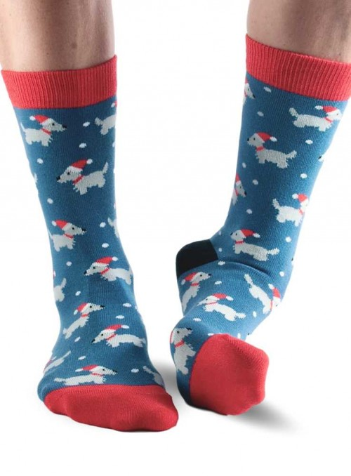 Bamboo Socks with organic cotton womens Blue Westie from Doris & Dude