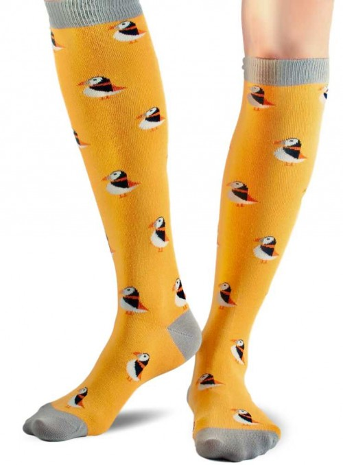 Knee high Bamboo Socks Gold Puffin, with organic cotton from Doris & Dude