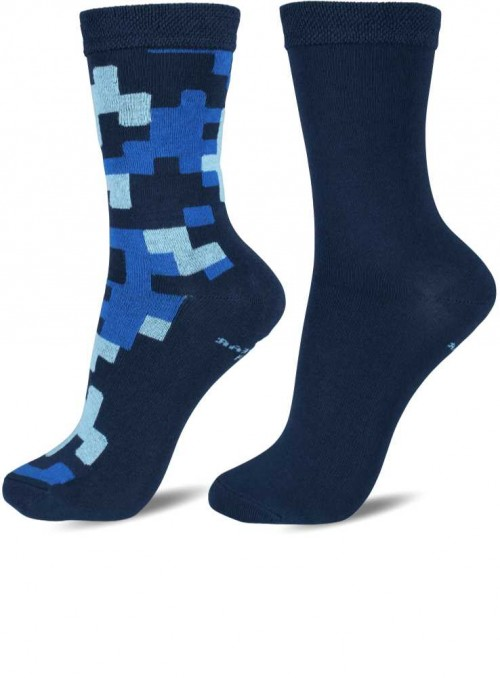2 pack kids bamboo socks blue, size 27/30 and 31/34
