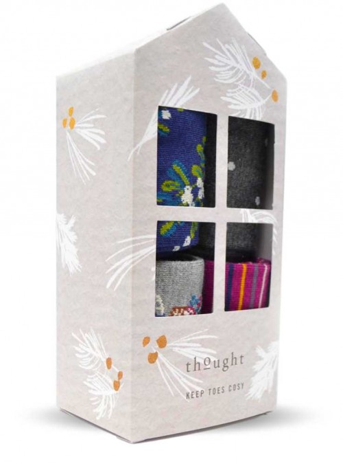 Gift box with 4 pairs of bamboo socks, Katherine from Thought