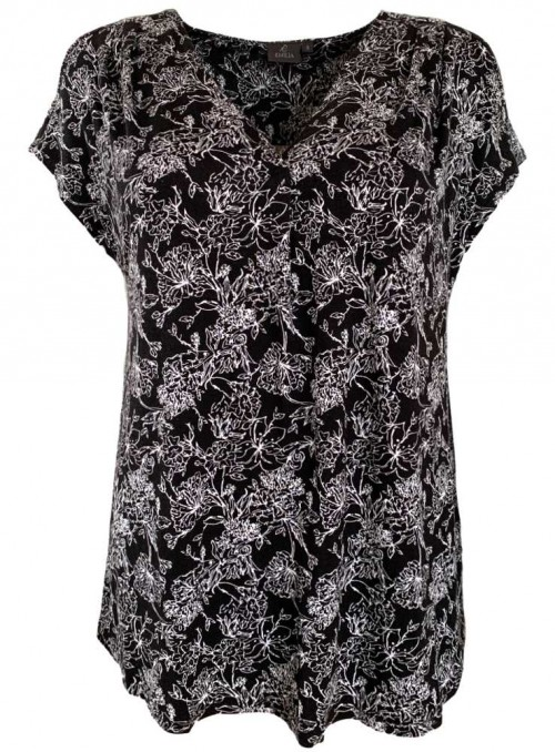 Bamboo jersey top black with white print