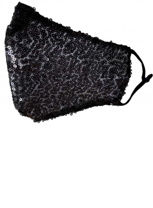 Non Medical Face Mask Black Sequin from Black Colour