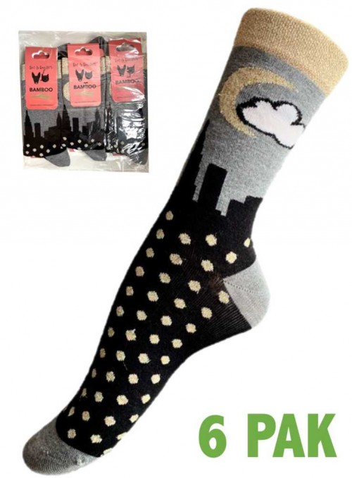 6 Pack Bamboo Socks with lurex New York size 36-41