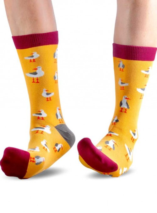 Bamboo Socks with organic cotton womens Gold Seagull from Doris & Dude