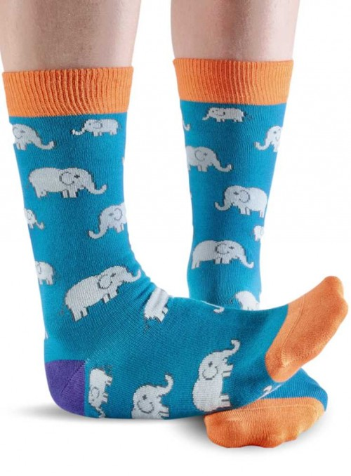 Bamboo Socks with organic cotton womens Teal Elephant from Doris & Dude