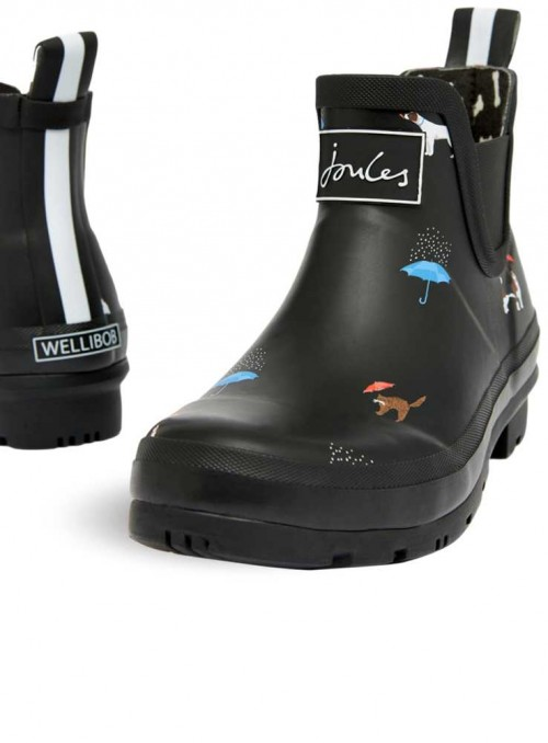 Short wellies from Joules Wellibob Black Cat Dog