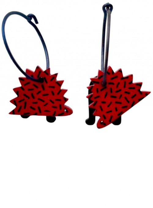 Earrings Acrylic Titanium Red Hedgehog