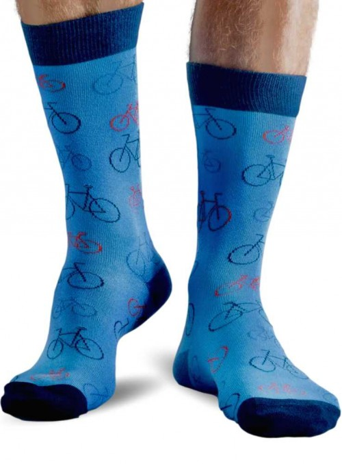 Bamboo Socks with organic cotton mens Blue Bike from Doris & Dude