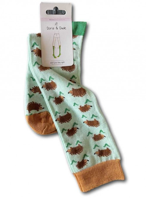 Knee high Bamboo Socks Mint Hedgehog, with organic cotton from Doris & Dude