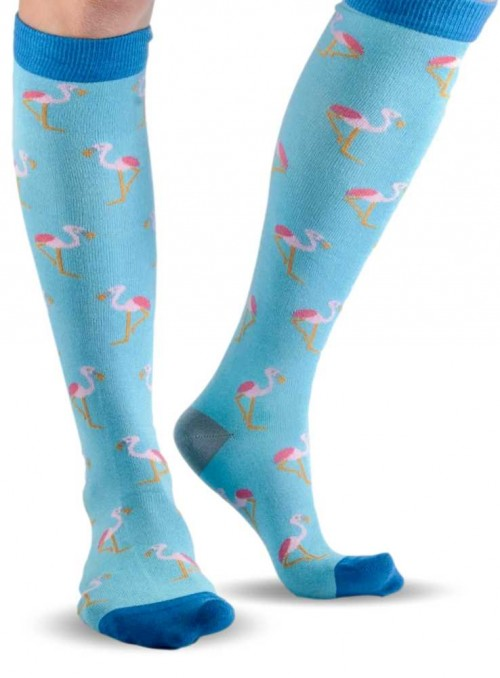 Knee high Bamboo Socks Blue Flamingo, with organic cotton from Doris & Dude