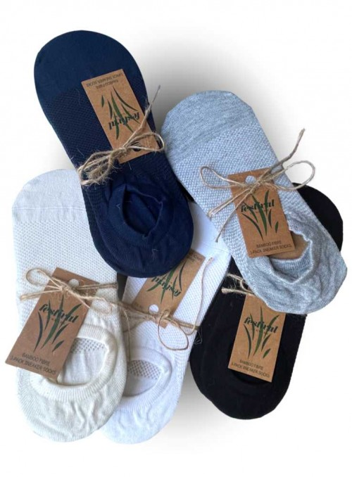 3 pack bamboo sneackers socks, invisible socks White from Festival